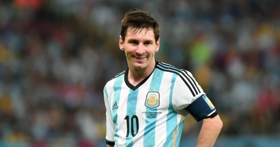 Argentina's forward and captain Lionel Messi smiles during the Group F football match between Argentina and Bosnia Hercegovina at the Maracana Stadium in Rio De Janeiro during the 2014 FIFA World Cup on June 15, 2014. AFP PHOTO / DAMIEN MEYER        (Photo credit should read DAMIEN MEYER/AFP/Getty Images)